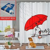 Cute Shower Curtains InGwest Home. Eco-friendly Funny Fabric Shower Curtain with Dog and Red Umbrella. Bathroom Curtains Water-Repellent Antibacterial and Mildew Resistant. No chemical odors. Present Box.