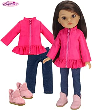 "Doll Clothes 14.5/"" Jacket Pink Jeggings Boots Fit 14.5/"" AG Wellie Wishers Doll"