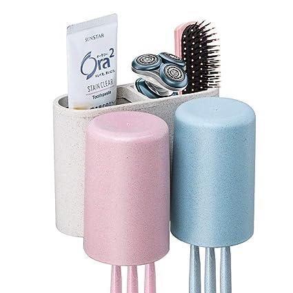 Soporte para cepillos de dientes montado en la pared trigo paja fabricada en material libre de polvo limpia con un dispensador de pasta de dientes ...