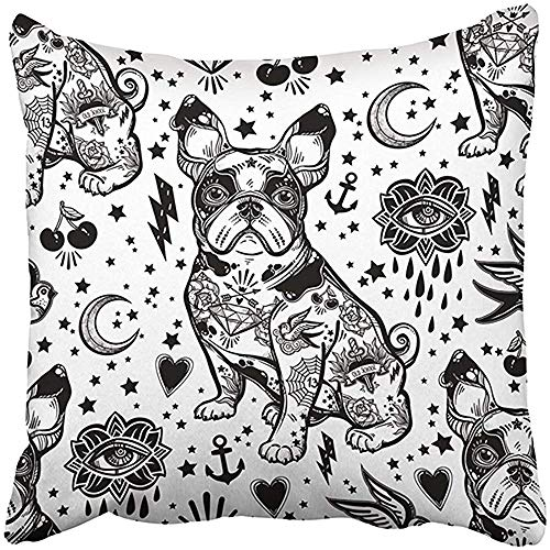 CUKENG Throw Pillow Cover Decorative 18 x 18 Inch 45 x 45 cm Black Vintage Traditional Tattoo Flash Bulldog Pug Dog Doodle Stylish Old School White Two Sides Polyester Square Pillowcase Home
