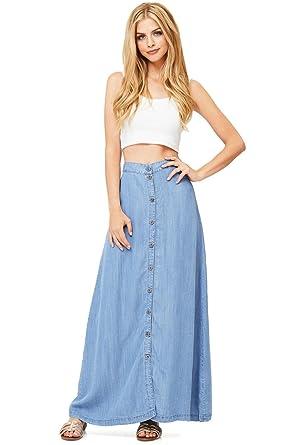 Love Stitch Womens Juniors Long Denim Maxi Skirt S Light