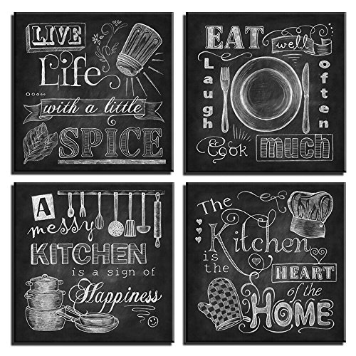 """Wall Art Abstract Chalkboard Kitchen Signs Canvas Prints Black and White Cook Paintings Messy Kitchen Home Decor Pictures 4 Panel Large Posters Photo Framed Ready to Hang (12"""" x 12"""" x 4 Panels, 1)"""
