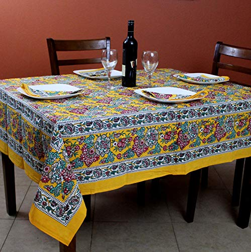 India Arts French Country Floral Print Tablecloth Square Cotton Table Linen Beach Sheet Beach Throw (Yellow, Tablelcoth 72 x 72 inches)