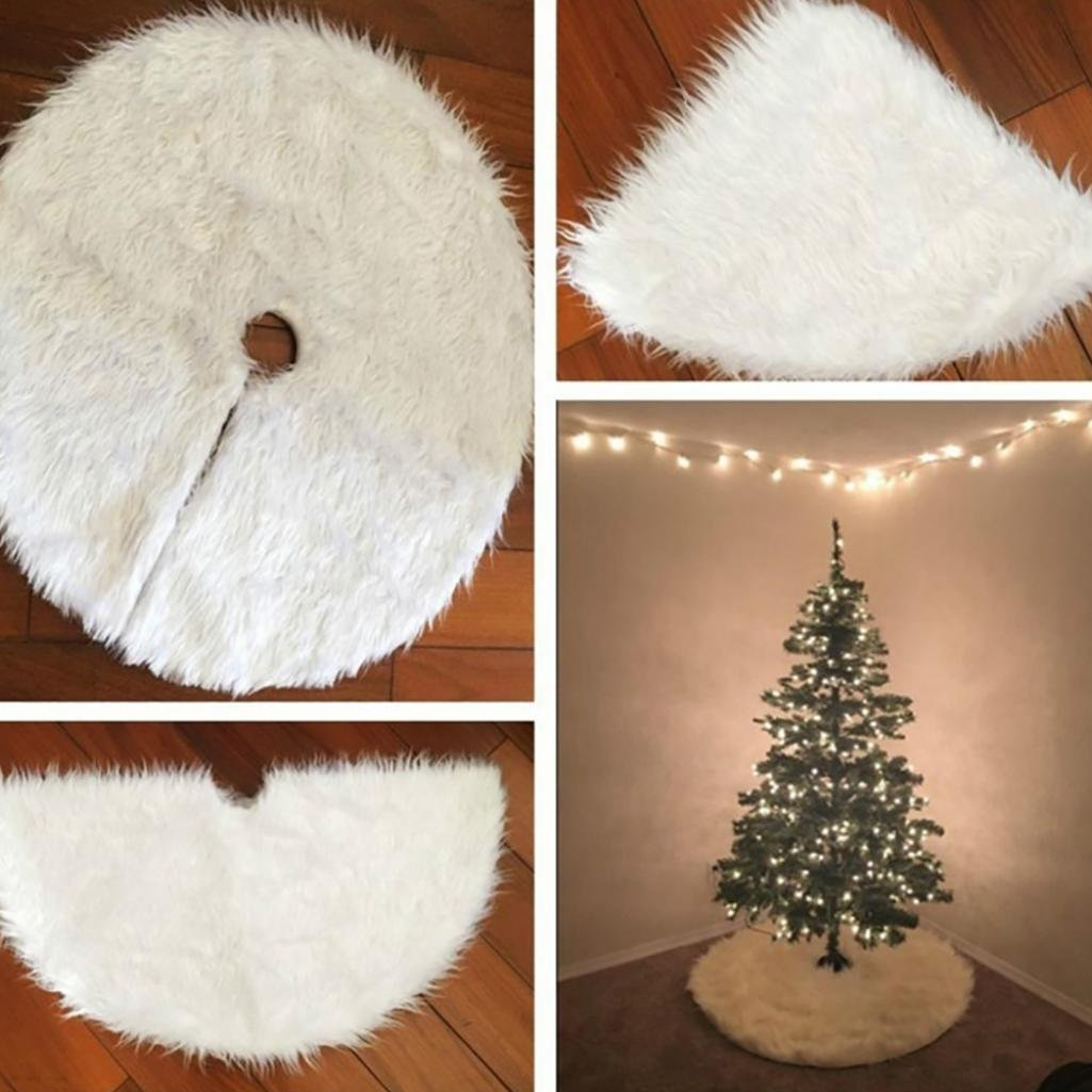 30.7inch Round Christmas Tree Skirt Faux Fur Ornament Xmas Party Tree Decoration White Ameesi