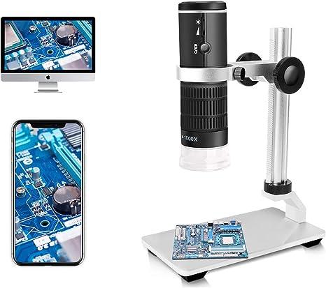 Jiusion WiFi USB Microscopio Digital HD 50 a 1000x Aumento inalámbrico Endoscopio 8 LED Mini cámara con Soporte actualizado Estuche portátil, Compatible con iOS Android Windows Mac: Amazon.es: Electrónica