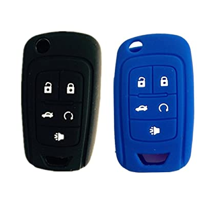 New Black and Blue 5 Buttons Silicone Cover Holder Key Jacket for Chevrolet Camaro Cruze Volt Equinox Spark Malibu Sonic Flip Remote Key Case Shell Cover: Car Electronics [5Bkhe1009237]