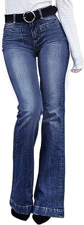 Amazon Com Sidefeel Jeans Para Mujer Corte Alto Rasgados Acampanados Moderno Equipada S Clothing