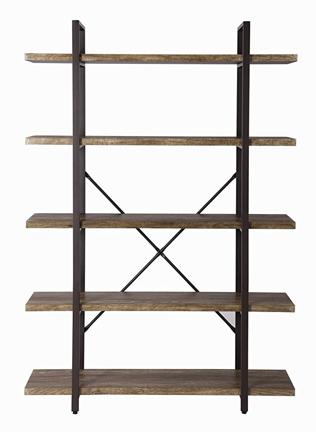 Amazon: O&K Furniture 5-Shelf Industrial Style Bookcase And Book  Shelves, Vintage Wood And Metal Etagere Bookshelf, 47.20