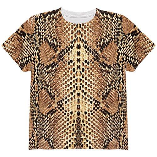 Animal World Halloween Rattlesnake Snake Snakeskin Costume All Over Youth T Shirt Multi -