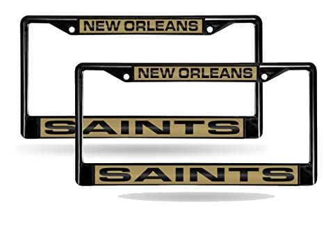 e007f7f59c5 Image Unavailable. Image not available for. Color  Rico New Orleans Saints  Black Metal (2) Laser License Plate Frame Set