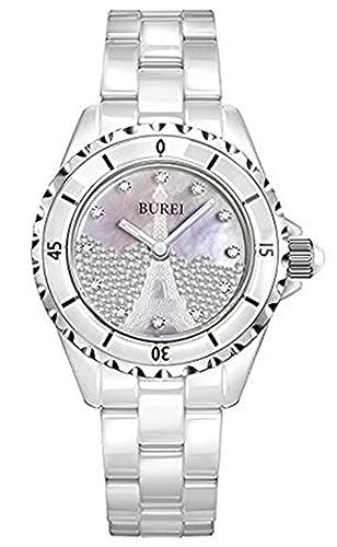 Suiza Reloj mujer marca de lujo J12 serie Paris la Tour Eiffel Diamond Pearl Cerámica impermeable Wriswatches: BUREI: Amazon.es: Relojes