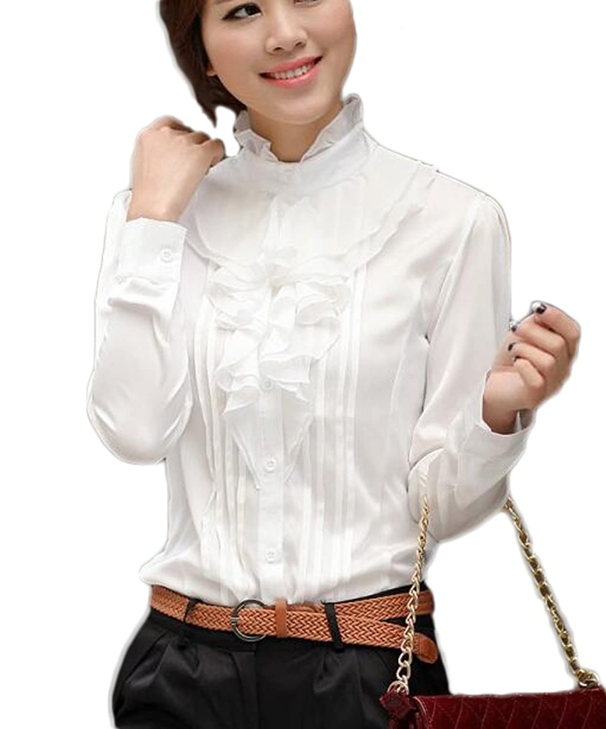 Edwardian Blouses | White & Black Lace Blouses & Sweaters Small Long Sleeve Lotus Ruffled Casual Shirt Blouse $18.67 AT vintagedancer.com