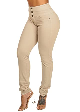 ModaXpressOnline Womens Sexy Butt Lifting High Waisted Beige 3-Button  Closure Skinny Pants 10067I