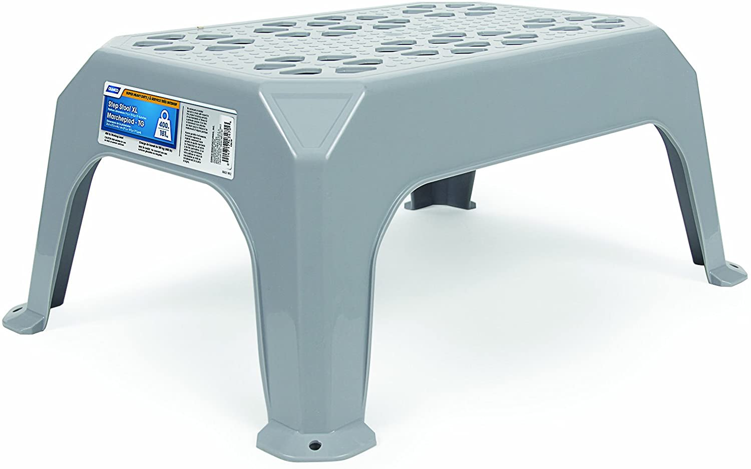 "Camco Durable Step Stool - Textured Platform Surface to Help Prevent Slipping |Lightweight & Sturdy | Design Excellent for RVs, Trailers, Trucks| 300 lb. Capacity | 21"" x 15"" x 9"" - Gray (43460)"