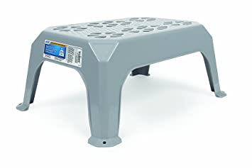 camco plastic step stool xl gray