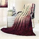AmaPark Digital Printing Blanket Marsala Color Foggy Dreamy Wilderness Woods and Sunlight Cranberry Summer Quilt Comforter