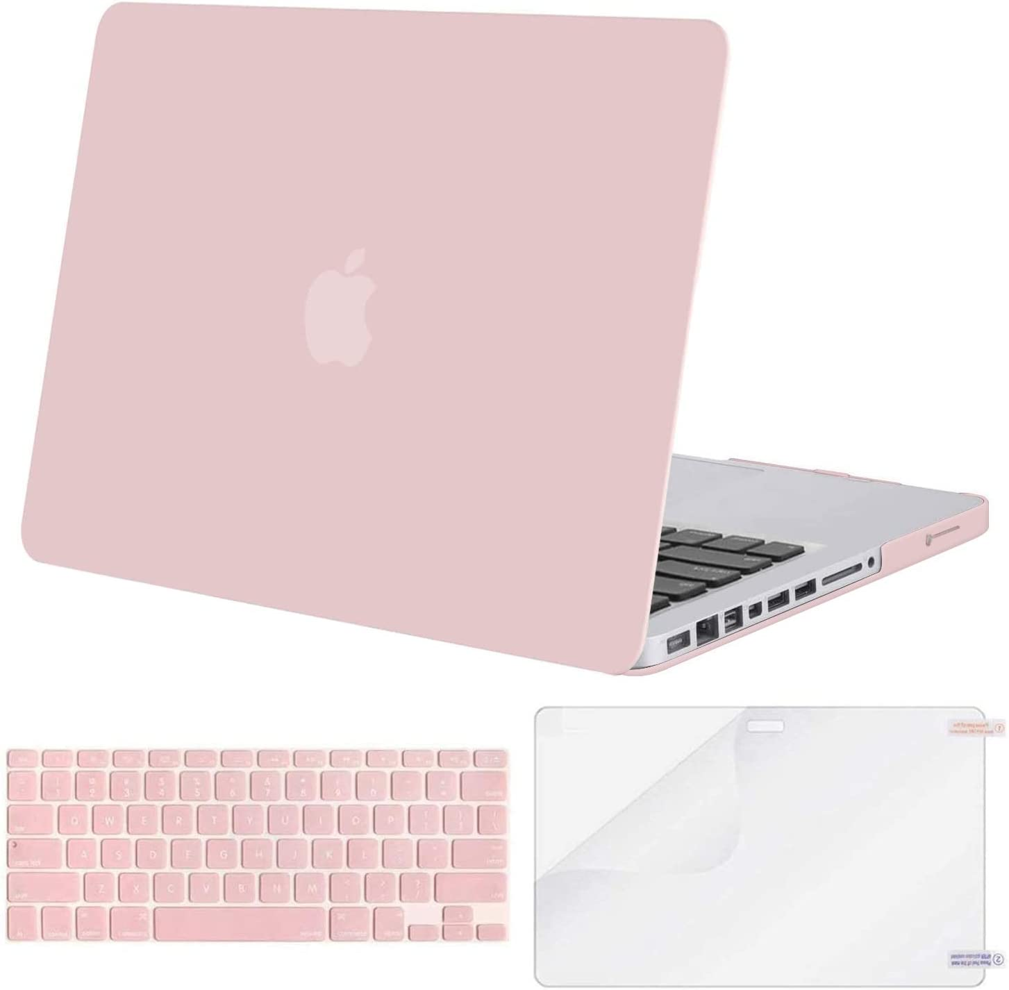MOSISO Plastic Hard Shell Case & Keyboard Cover & Screen Protector Only Compatible with Old Version MacBook Pro 13 inch (A1278, with CD-ROM), Release Early 2012/2011/2010/2009/2008, Rose Quartz