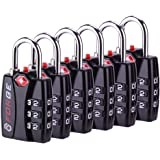 Forge TSA Travel Lock 6 Pack - Open Alert Indicator, Easy Read Dials, Re-settable Combination with Alloy Body