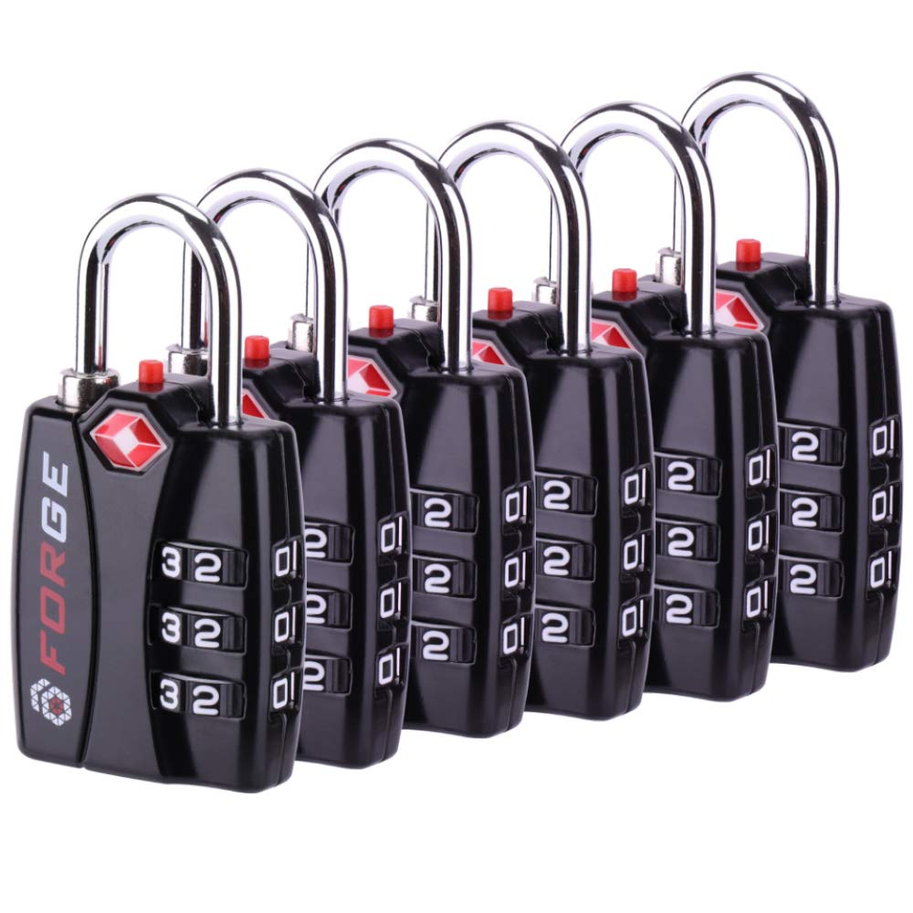 Forge TSA travel Lock 6 Pack - Open Alert Indicator, Easy Read Dials, Re-settable Combination with Alloy Body by Forge