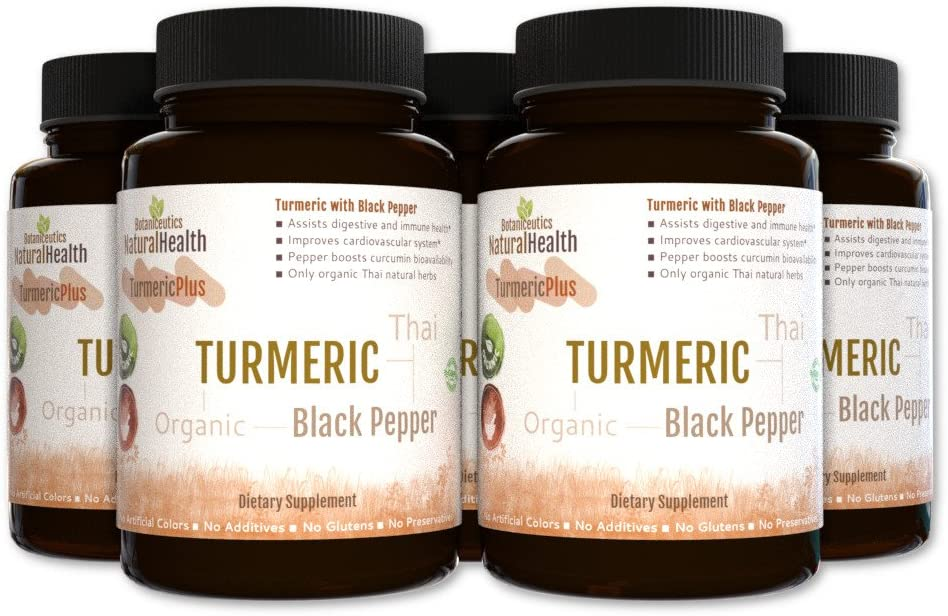 Botaniceutics Organic Turmeric and Black Pepper Curcuma longa – piper nigrum – 450 Capsules – 500 Mg – 5 Bottle Pack. No additives, no fillers. Natural curcumin and piperine for your health.