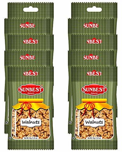 SUNBEST Grab &Go Snack PackNatural Shelled Raw California Walnuts, 10 Count - Single Serve Bag