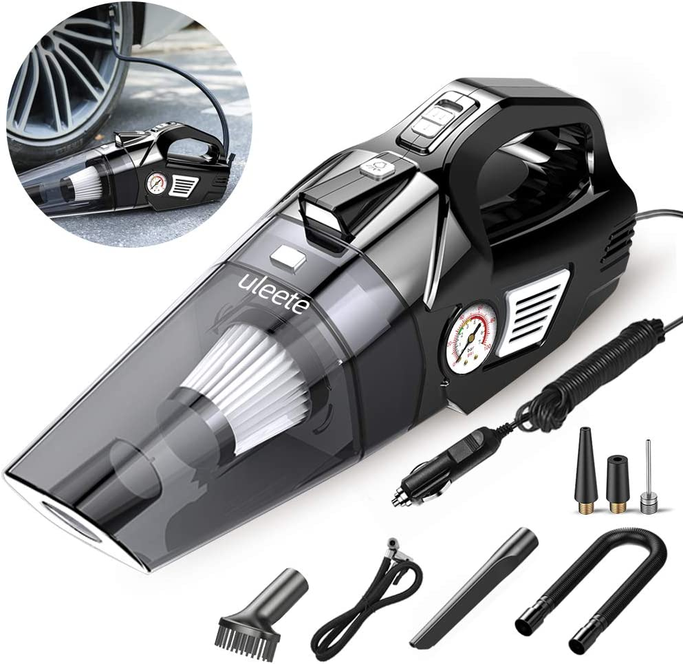 Car Vacuum, Uleete 2 in 1 Portable Car Vacuum Cleaner with Air Compressor Pump, DC12V High Power 5500PA Handheld Car Vacuum w/LED Light, 14.8FT Power Cord, for Wet/Dry Use, Tire Inflator