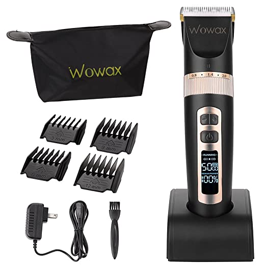WOWAX Hair Clipper, Professional Cordless Rechargeable Men Hair Trimmer, LCD Display, 4 Guide Comb