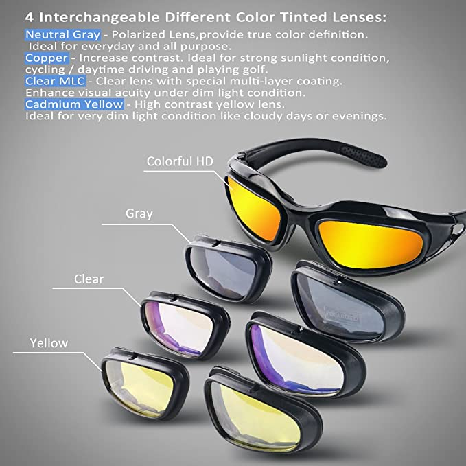 bb75622fa3 Amazon.com  AULLY PARK Polarized Motorcycle Riding Glasses Black Frame with  4 Lens Kit for Outdoor Activity Sport  Automotive
