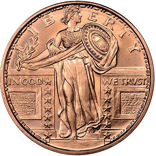 Standing Liberty  Presston Mint  1 Oz  999 Pure Copper Challenge Coin