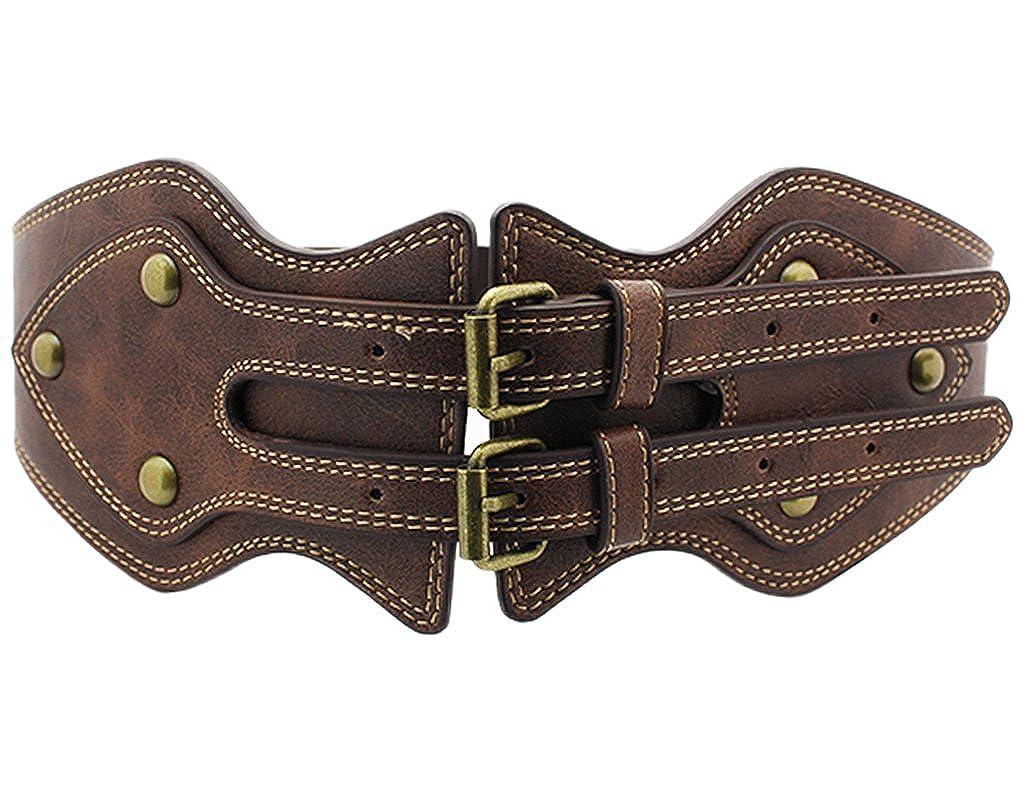 BONAMART ® Stretch Elastic PU Leather Western Corset Belt Wide High Waist Belt Waistband Studded with Rivet for Women Ladies