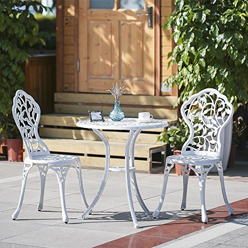 NEW 3PCS White Patio Bistro Set Aluminum Porch Balcony Garden Table&Chairs Set Durable (Sets Martha Living Patio)