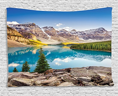 Ambesonne Landscape Tapestry, Still Calm Lake and Mountain Landscape with Rock and Sky Dream Life Print, Wall Hanging for Bedroom Living Room Dorm, 80 W X 60 L Inches, Blue Green Grey