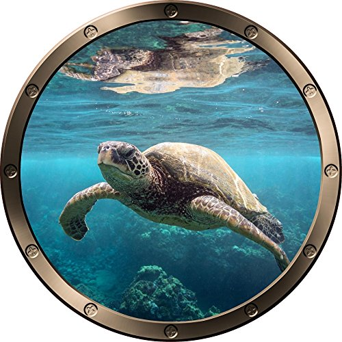 12  Porthole Ship Window Ocean Sea View Green Sea Turtle  1 Pewter Round Wall Decal Kids Sticker Baby Room Home Art D Cor Graphic Small