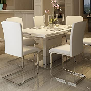 Yaheetech Set Of 2 Faux Leather High Back Chrome Less Home Dining Room Furniture Chairs