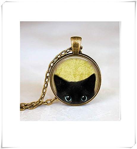 JUN Collar de Gato Negro, Collar de Gato Peeking, Joyería para ...