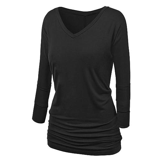 6c5b4813a2b3 VIASA Fashion Sexy Casual Women Long Sleeve V-Neck T-Shirt Pure Color fold
