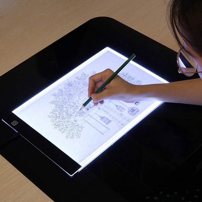 QQSGBD Tableta gráfica Tablero de Dibujo con luz Ultra A4 en ...