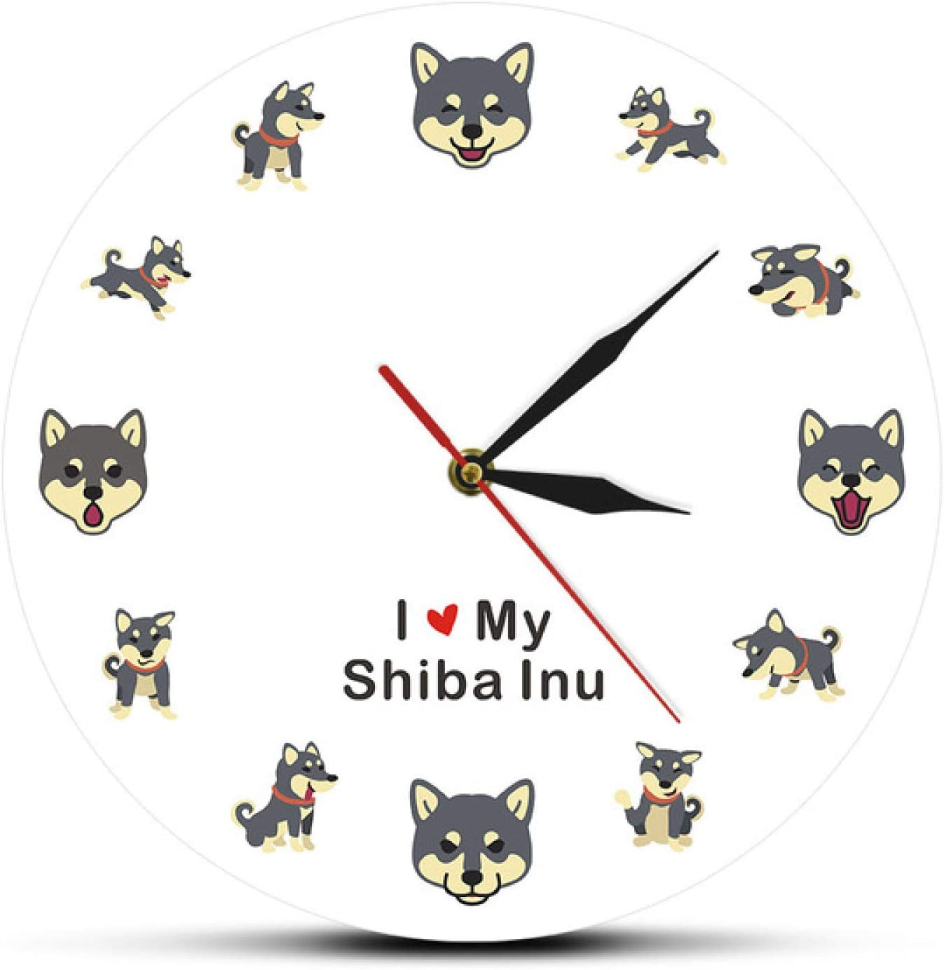 hufeng Wall Clock I Love My Shiba Inu Modern Wall Clock Japanese Small Size Dog Living Room Silent Wall Watch Pet Shop Decor Dog Pet Owner Gift