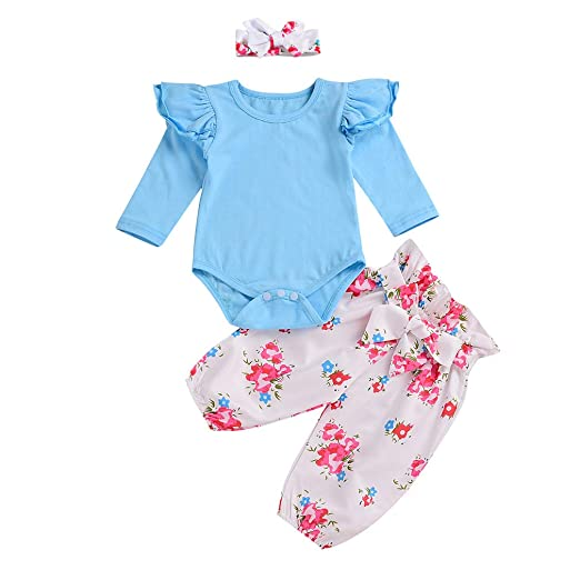 2dc071dc30a9 Amazon.com  Toddler Baby Girl Floral Ruffle Romper Outfits Long ...