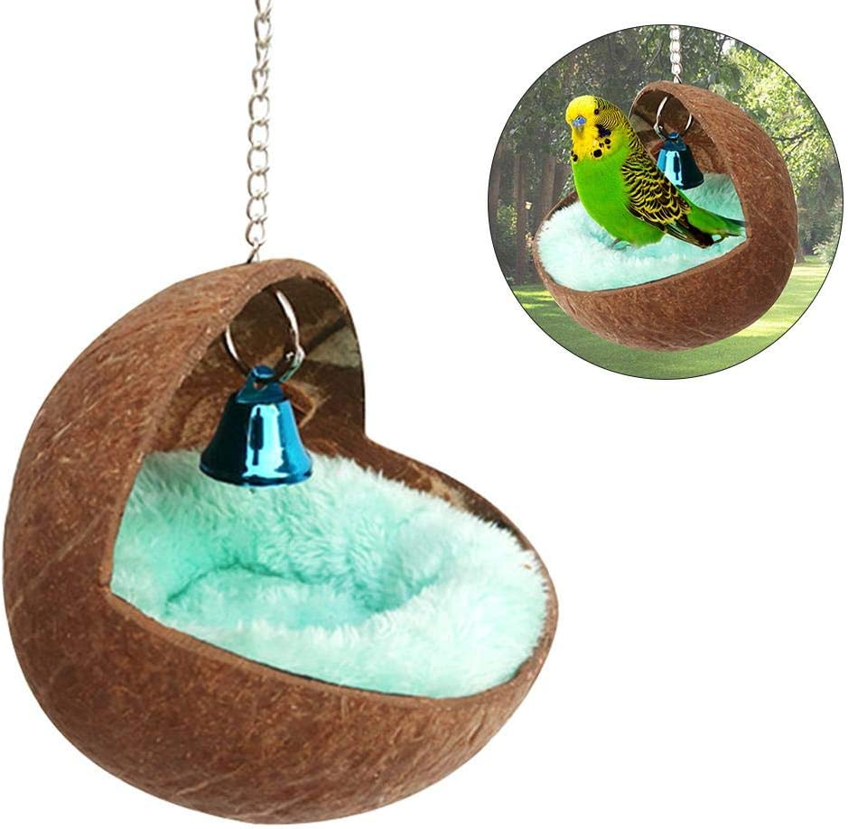 fervory Juguete Hamaca Pequeña Casa para Mascotas Hámster Ardilla Conejillo De Indias Cerdo Holandés Nido para Dormir Concha De Coco Redonda Loros Nidos De Pájaros