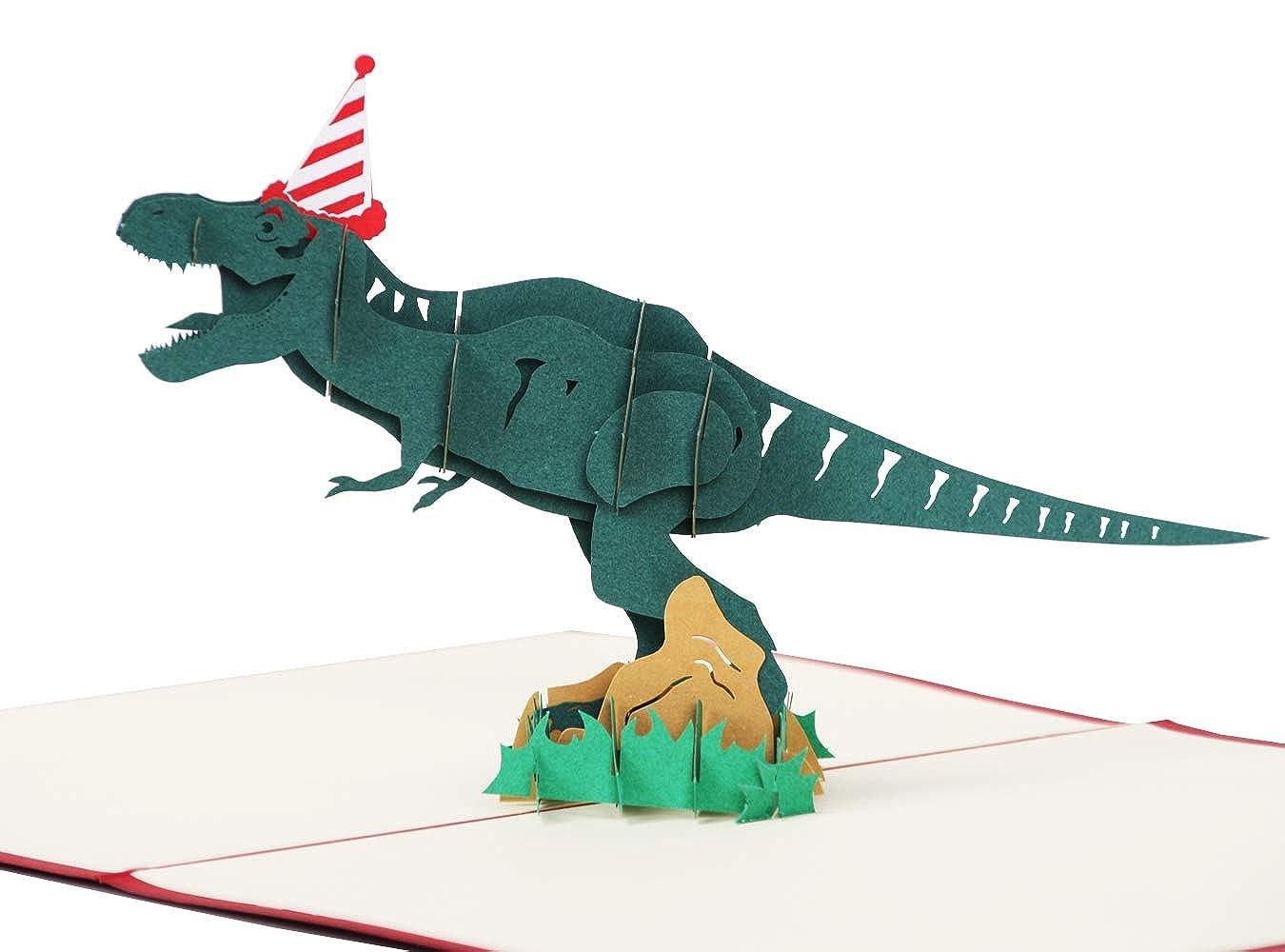LANGXUN 3D Pop Up Dinosaur Happy Birthday Card Jurassic Tyrannosaurus Personalized Kid Funny Greeting Cards Amazoncouk Clothing