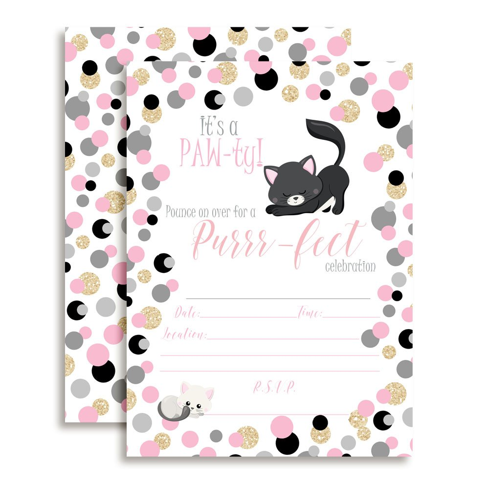 Pink and Gold Polka Dot Glitter Kitty Cat Birthday Party Invitations, 20 5''x7'' Fill in Cards with Twenty White Envelopes by AmandaCreation
