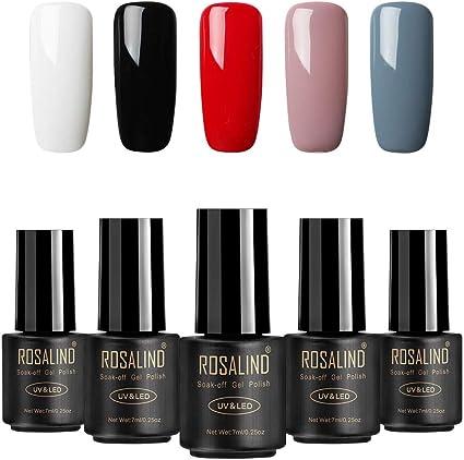ROSALIND Esmaltes de Uñas, Esmaltes en Gel Uñas UV LED, 5pcs Kit ...