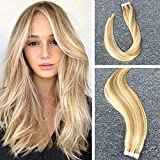 Komorebi 14″ 1.5g Per Piece 20 Pieces/Package Tape in Balayage Hair Extensions Piano Color #27 Honey Blonde Mixed with #613 Bleach Blonde Tape in Remy Hair Extensions
