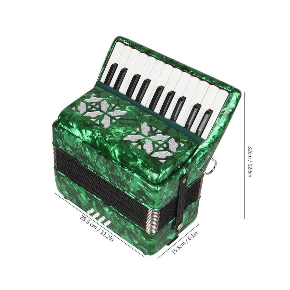 Dilwe Piano Accordion, Maple Wood 22 Key 8 Bass Keyboard Accordion Musical Instrument Toy with Straps Gloves Clean Cloth for Beginners Students(Green) by Dilwe (Image #4)