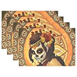 Yochoice Hipster Day of The Dead Sugar Skull Face Placemat Plate Holder Set of 6, Stylish Polyester Table Place Mats Protector for Kitchen Dining Room 12'' x 18''