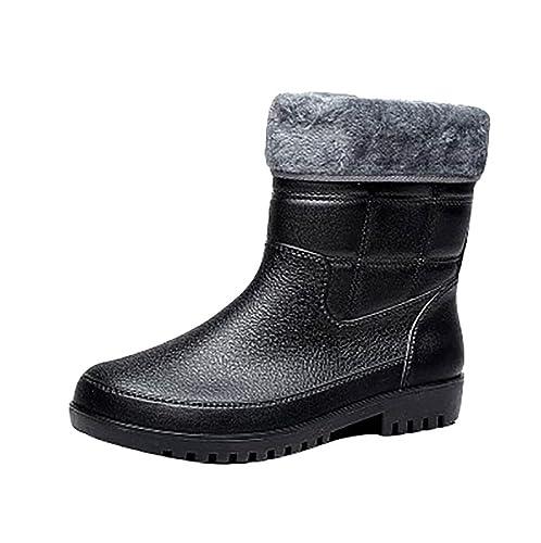 LvRao Boots Altura Mitad de los Hombres Botas de Lluvia y Nieve a Prueba de Agua