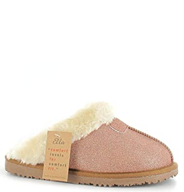 da112b8c2e509 Ella Jill Sparkle Soft Slippers Mules Faux Fur Slip On Mules Glitter Shoes  (UK 3