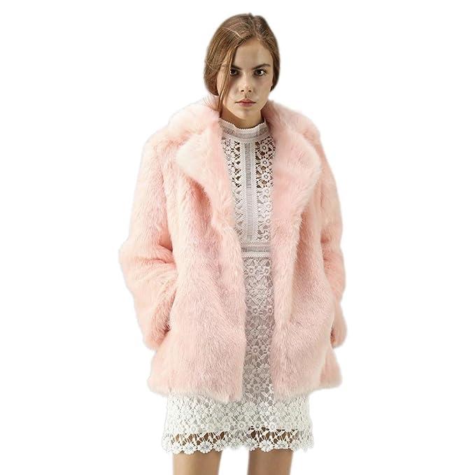 20d4ad7077 DMZing Women's Winter Warm Long Sleeve Faux Fur Coat Jacket Ladies Parka  Plus Size Cardigan (
