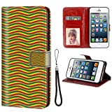 iPhone 5, iPhone 5S, iPhone SE Wallet Case, Rasta Vivid Colors Ethiopian African Flag Colors in Wavy Style Stripes Image Marigold Green and Red PU Leather Folio Case with Card Holder and ID Coin Slot